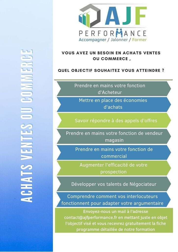 FORMATION ACHATS VENTES OU COMMERCE - AJF PERFORMANCE